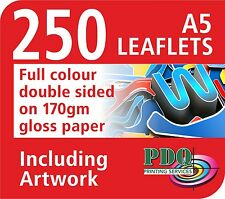 250 A5 FULL COLOUR DOUBLE SIDED LEAFLETS ON 170GM GLOSS - FREE ARTWORK