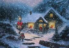 Snowy Christmas House vintage art