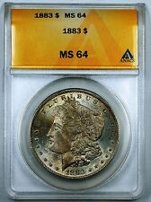 1883 Morgan Silver Dollar Coin, ANACS MS-64, Toned, JT