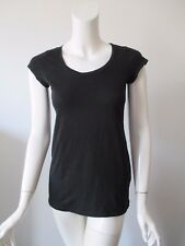Eileen Fisher Black Matte Scoop Neck Organic Cotton T Shirt Top XXS/ TTP