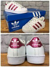 431067a81 Adidas UK 10 EU 28 Blanco Brillo Rosa Serpiente Superstar Zapatillas Niños