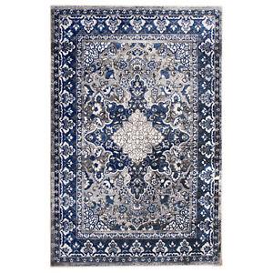 Vintage Distressed Traditional Rug Gray & Blue Doormat 2' x 3'