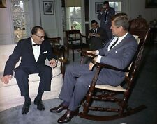 President John F. Kennedy sits in hand-carved rocking chair New 8x10 Photo