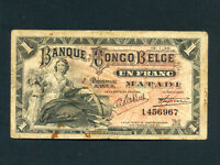 Belgian Congo:P-3B,1 Franc, 1920 * Matadi * RARE *