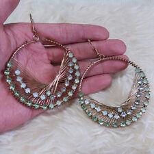 Vintage Womens Bohemian Gold-Color Ring Green Rheinstones Dangle Hook Earrings