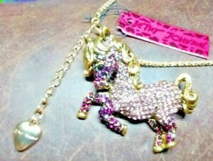 "Big Happy Adorable Purple Crystal Pony 28"" Long Sweater Necklace & Gift Box Fun"