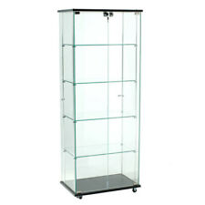 Frameless Glass Tower Display Case 24 W x 62 H Inches