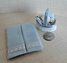Dollhouse Miniature Blue Bath Set Filled Basket & Handcrafted Lace Towels 1:12