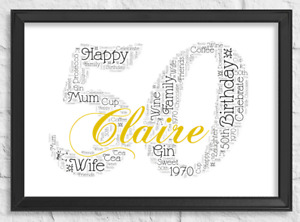 Personalised 16th 18th 21st 30th 40th 50th 60th Birthday Frame Print Word Gifts