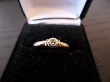 9ct GOLD DIAMOND RING - SIZE P1/2 - MODERN DESIGN - RUB OVER SETTING