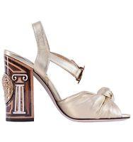 DOLCE & GABBANA Nappa Leather Coins Heel Sandals BIANCA Pumps Heels Gold 04288