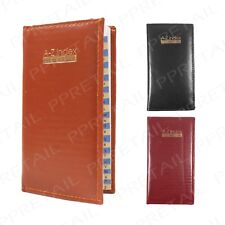 Executive Slim Index Book ~A-Z ADDRESS ORGANISER~ Quality Bound Leather/Padded
