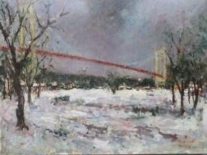 JOSEPH RAUMANN (1908-1999) French Impressionist Oil Painting SEINE @ LE HAVRE