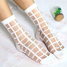 Hot Sexy Summer Transparent Lace Grid Glass Crystal Cool Mesh Knit Silk Socks