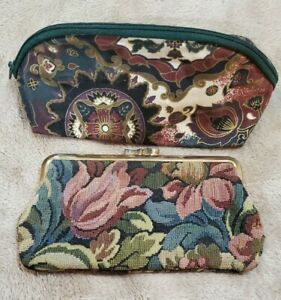 Vintage Coin Purse carpet style tapestry material mid century +Bonus makeup bag