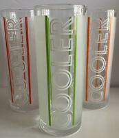 "3~MCM  Libbey Frosted Tom Collins ""COOLER"" Glass Tumbler - Green -Red-Orange EUC"
