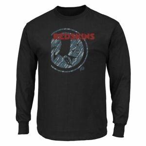 Washington Redskins Logo Long Sleeve Black T-Shirt NFL Team Apparel XL 2XL New