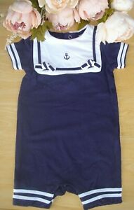 100% Cotton Spanish Style Baby Boy Navy White Nautical Romper Outfit 0-3-6-12m