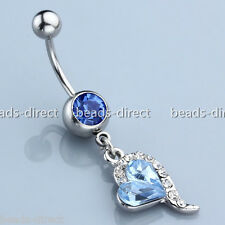 14g Blue Crystal Heart Dangle Navel Belly Button Ring Bar Barbell Body Jewelry