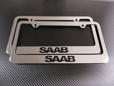 2 Brand New SAAB chromed METAL license plate frame +screw caps