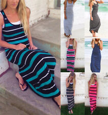 Women's Summer Beach Striped Sleeveless Casual Tank Dress