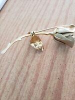 Giovanni Gold Tone Rose Bud Stem Flower Vintage Brooch Pin