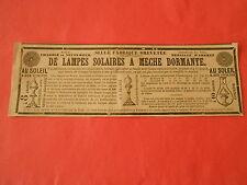 Pub 1846 - Lampes Solaires à meche dormante Au Soleil