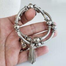 Vtg Memory Wire Bracelet Elbow Beads Textured Silver Tone Bracelet Tassel 2 Loop