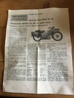 VINTAGE COLLECTIBLE  MOTORCYCLE CYCLE VELOCETTE MODEL LE192 1956 SERVICING DATA