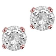 14Kt Rose Gold Solitaire Studs Earrings 3/4 Ct Natural Diamond Prong Set 4.40 MM