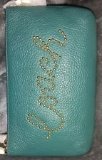 Authentic Coach79890💥NWT Viridian Studded Script Pebbled Leather Chain Wristlet
