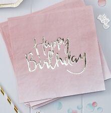20 Servietten Happy Birthday 33 x 33 cm - Rosa Gold Ombre Look - Geburtstag Deko