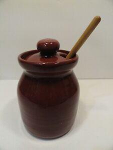 Vintage Bybee Cornelison Pottery Red Jam Jar Honey Pot - Bybee, Kentucky