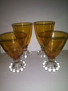 """Vintage Anchor Hocking """"Boopie"""" Amber Glass Clear Bubble Foot Set / Lot"""