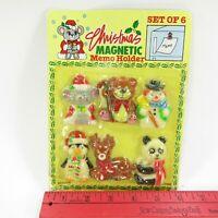 Vintage Christmas Magnets plastic Reindeer Penguin Snowman Bear Mouse in Package
