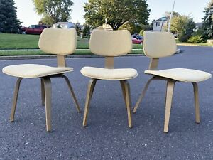 Set of 3 THONET Vintage Upholstered Bentwood Cherner Chair