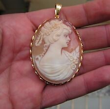 Cameo Woman Pendant Made In Italy Victorian Style Hand Carved Italian Shell
