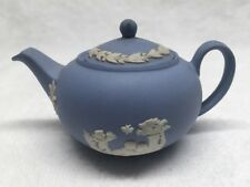 WEDGWOOD MINI / MINIATURE BLUE JASPERWARE TEAPOT