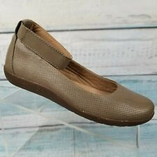 Clarks Medora Nina Womens Brown Tan Ankle Strap Flats Shoes 10 M