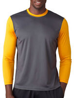 A4 Men's Basic Moisture Wicking Polyester Sleeve T-Shirt S-3XL. N3294