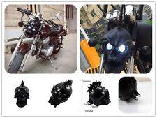 Black Universal Motorcycle Skull headlight WITH LIGHT IN EYES Resin Custom Lamp