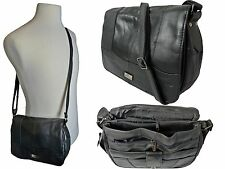 Ladies Womens Cross Body HandBag Black Real Leather Shoulder Hand Bag Bags QL966