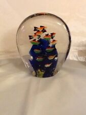 "Under Water Fish Murano Style Glass Paperweight 6"" H X 5"" W"