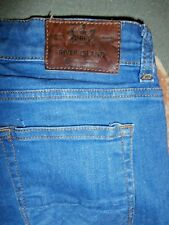 RIVER ISLAND Mens Mid Blue Stonewashed DENIM STRETCH SKINNY JEANS~28/25