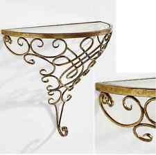 Konsole Wandkonsole Tisch Wandtisch Konsolentisch Metallkonsole Farbe: Gold