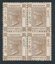 HONG KONG 48 MINT HINGED, 30c VICTORIA, BLK 4, REINFORCED WITH HINGES, WMK CA