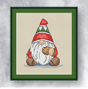 GNOME WITH A COOKIE - Counted cross stitch kit (with DMC threads)