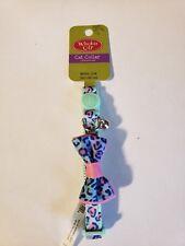 "🦁Whisker City Rainbow Cheetah Bow Tie & Bell Adjustable Cat Collar 8""-12"" 🦁"
