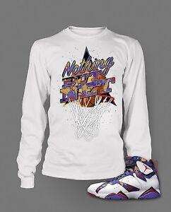 Mens Tee Shirt to match Air Jordan 7 Nothing But Net Long Sleeve White t shirt