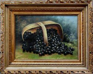 ATT. Albert F King Signed Still Life of Grapes in Basket Antique Oil Painting NR
